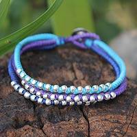 Silver accent braided bracelet, 'Cool Thai River' - Brightly Colored Thai Braided Bracelet