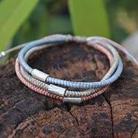Silver accent braided bracelet, 'Modern Hill Tribe'