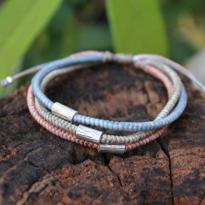 Silver accent braided bracelet, 'Modern Hill Tribe' - Hill Tribe Silver Braided Bracelet