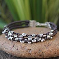 Silver accent braided bracelet, 'River of Flowers' - Bohemian Beaded Faux Leather and Fine Silver Bracelet