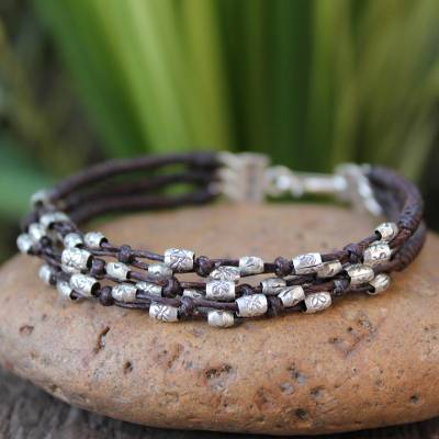 Silver accent braided bracelet, 'River of Flowers' - Hill Tribe Silver Braided Bracelet