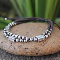 Silver accent braided bracelet, 'Hill Tribe Geometry' - Hill Tribe Silver Braided Bracelet