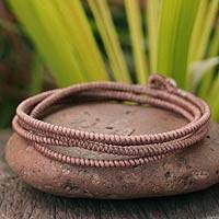 Silver accent wrap bracelet, 'Brown Labyrinth Walk' - Fair Trade Hill Tribe Wrap Bracelet