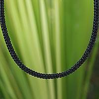 Silver accent braided necklace, 'Night Path' - Unique Cord Necklace