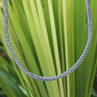 Silver accent braided necklace, 'Shadow Path' - Silver accent braided necklace