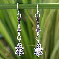 Silver dangle earrings, 'Hill Tribe Turtle' - Fair Trade Hill Tribe Silver Dangle Earrings