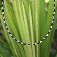 Silver beaded necklace, 'Karen Starlight' - Hill Tribe Silver Beaded Necklace