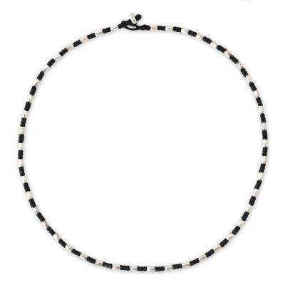 Silver beaded necklace, 'Karen Starlight' - Hill Tribe Silver Beaded Necklace