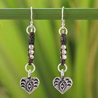 Silver dangle earrings, 'Urban Love' - Silver dangle earrings