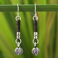 Silver dangle earrings, 'Floral Bud' - Silver dangle earrings