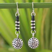 Silver dangle earrings, 'Hill Tribe Cross' - Silver dangle earrings