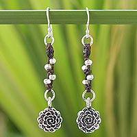 Silver dangle earrings, 'Urban Blossom' - Unique Floral Silver Dangle Earrings