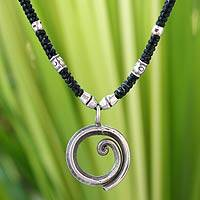 Silver choker, 'You're Number One' - Hill Tribe Silver Pendant Necklace from Thailand