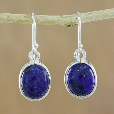 Lapis lazuli dangle earrings, 'Majestic Blue' - Thai Sterling Silver and Lapis Lazuli Earrings