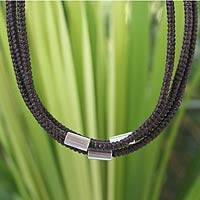 Silver accent choker, 'Hill Tribe Friend' - Braided Cord and Silver Necklace