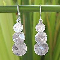 Sterling silver dangle earrings, 'Lunar Fanfare' - Hand Made Modern Sterling Silver Dangle Earrings