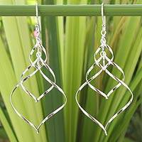 Sterling silver dangle earrings, 'Chiang Mai Chimes'