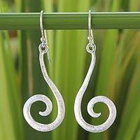 Sterling silver dangle earrings, 'Thai Fern' - Handmade Sterling Silver Dangle Earrings