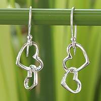 Sterling silver heart earrings, 'Locked in Love' - Sterling Silver Dangling Heart Earrings