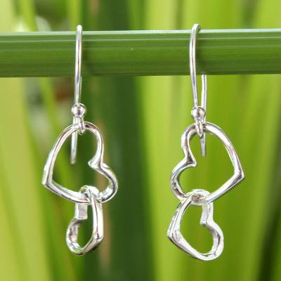 Sterling silver heart earrings, 'Locked in Love' - Women's Heart Shaped Sterling Silver Dangle Earrings