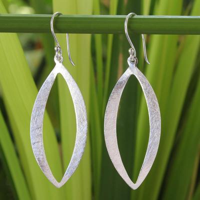 Sterling silver dangle earrings, 'Elliptical Siam' - Modern Sterling Silver Dangle Earrings