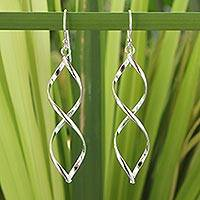 Sterling silver dangle earrings, 'Infinito' - Fair Trade Sterling Silver Thai Dangle Earrings