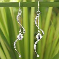 Sterling silver dangle earrings, 'Movement'