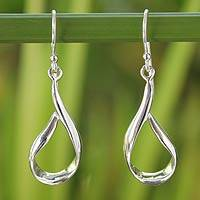 Sterling silver dangle earrings, 'Ribbons' - Hand Crafted Sterling Silver Dangle Earrings