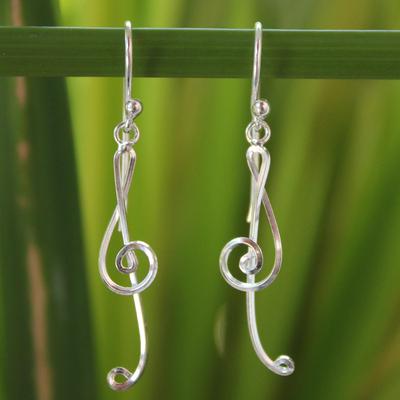 Sterling silver dangle earrings, 'Siam Melody' - Unique Sterling Silver Dangle Earrings