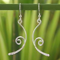 Sterling silver dangle earrings, 'Thai Life' - Sterling Silver Dangle Earrings