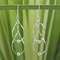 Sterling silver dangle earrings, 'Fabulous' - Handcrafted Modern Sterling Silver Dangle Earrings