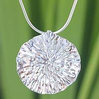 Sterling silver flower necklace, 'Lotus Leaf' - Sterling Silver Pendant Necklace