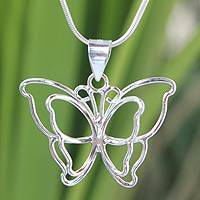Sterling silver pendant necklace, 'Siam Butterfly' - Artisan Crafted Sterling Silver Pendant Necklace
