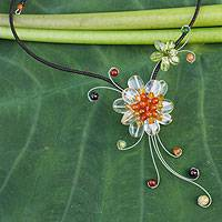 Carnelian and citrine choker, 'Gorgeous Blossom' - Citrine and Carneian Flower Necklace