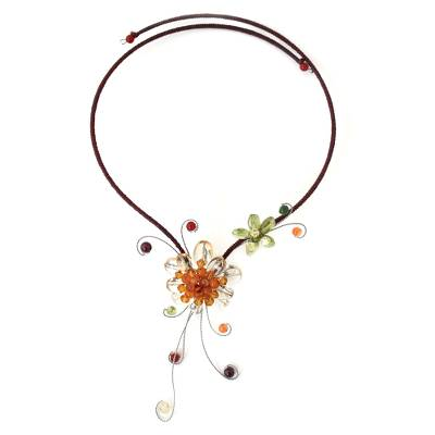 Citrine and Carneian Flower Necklace