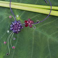 Amethyst and garnet choker, 'Gorgeous Blossom' - Handmade Choker with Amethyst and Garnets
