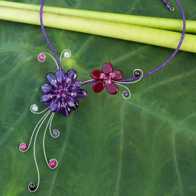 Amethyst and garnet choker, 'Gorgeous Blossom' - Handmade Amethyst and Garnet Choker