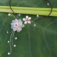 Cultured pearl and rose quartz choker, 'Gorgeous Blossom' - Alluring Floral Rose Quartz and Pearl Necklace