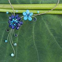 Lapis lazuli choker, 'Gorgeous Blossom' - Artisan Crafted Lapis Lazuli Flower Necklace