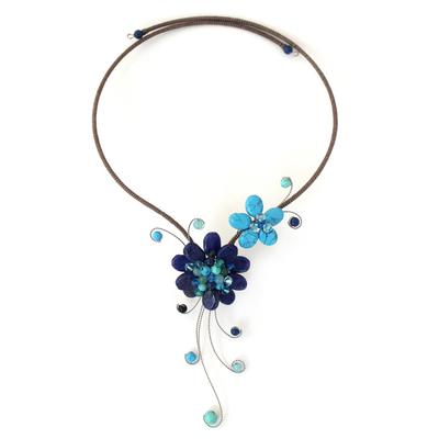 Artisan Crafted Lapis Lazuli Flower Necklace