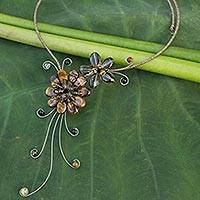Tiger's eye and smoky quartz choker, 'Gorgeous Blossom' - Quartz and Tiger's Eye Floral Necklace
