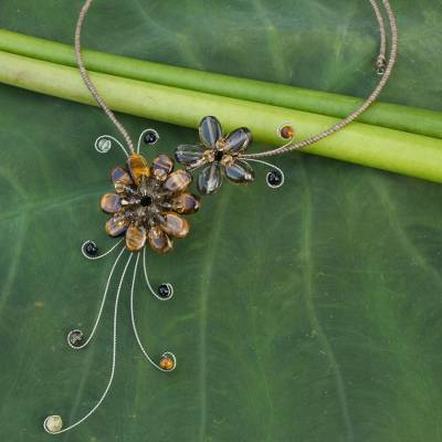 Tiger's eye and smoky quartz choker, 'Gorgeous Blossom' - Handmade Smokey Quartz Multigem Necklace