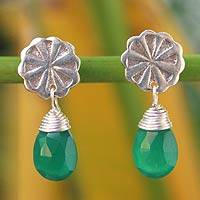 Chalcedony dangle earrings, 'Chiang Mai Daisy' - Unique Floral Silver and Chalcedony Earrings