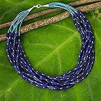 Lapis lazuli beaded necklace, 'Eight Rivers'