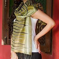Batik scarf, 'Olive Embrace'