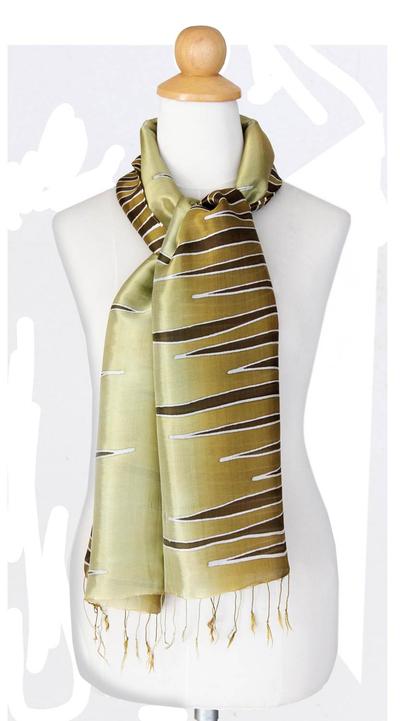 Batik scarf, 'Olive Embrace' - Batik Patterned Scarf