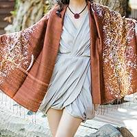 Silk batik shawl, 'Fireworks on Copper' - Unique Batik Silk Shawl