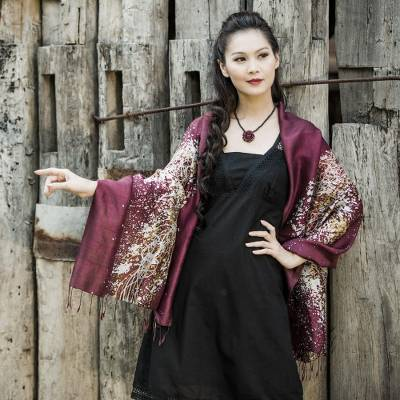 Silk batik shawl, 'Fireworks on Maroon' - Batik Silk Shawl