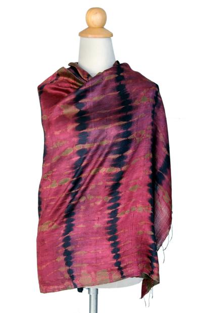 Silk shawl, 'Crimson Reflecting Pools' - Unique Silk Shawl from Thailand