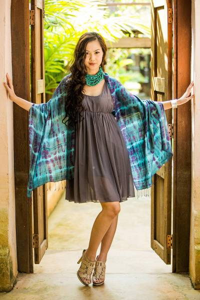 Silk shawl, 'Purple Reflecting Pools' - Silk Tie Dye Shawl